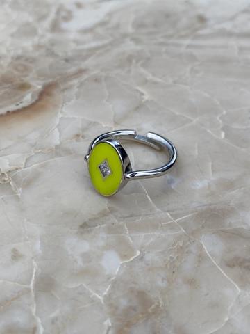 Кольцо Аврора из серебра с желтой эмалью