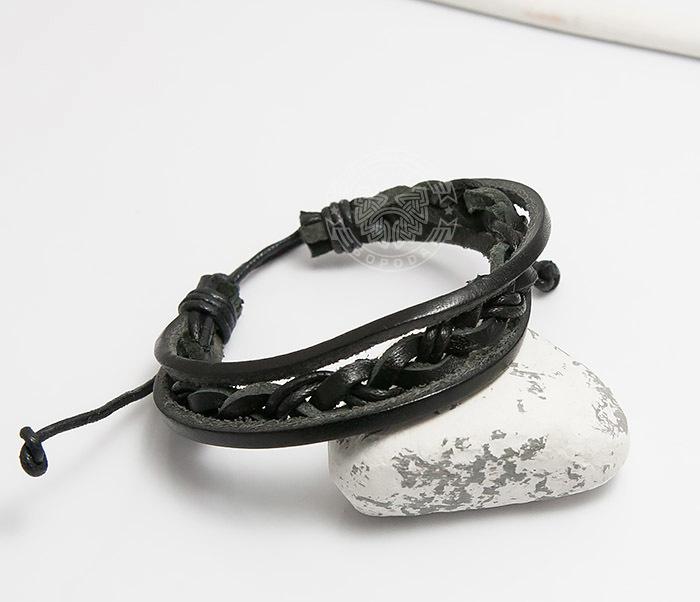 SL0087-K Мужской браслет «Spikes» из кожи на завязках фото 03