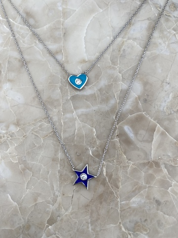 Колье Энера из серебра с голубым сердечком и синей звездой