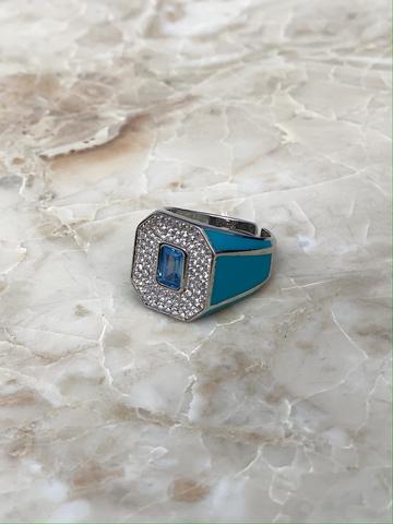 Кольцо Печатка голубое, серебро