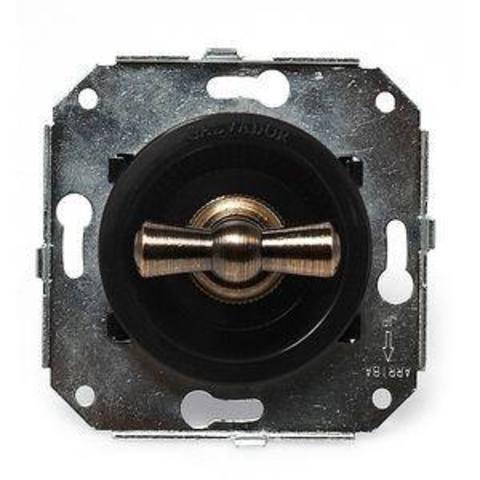 Выключатель четырёх позиционный для внутреннего монтажа оконечный (Двухклавишный). Цвет Чёрный. Salvador. CL21BL