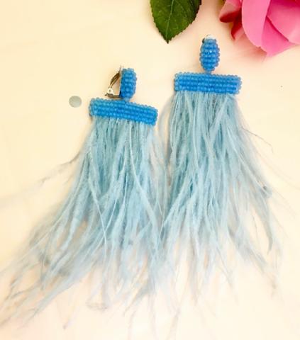 32124- Серьги-клипсы с голубыми перышками