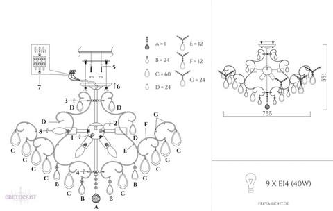 Люстра потолочная FR2302-CL-09-WG серии Chabrol