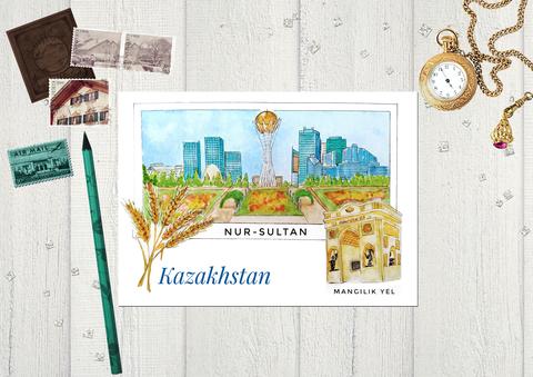 Города Казахстана - г. Нур-Султан, вид на монумент Байтерек