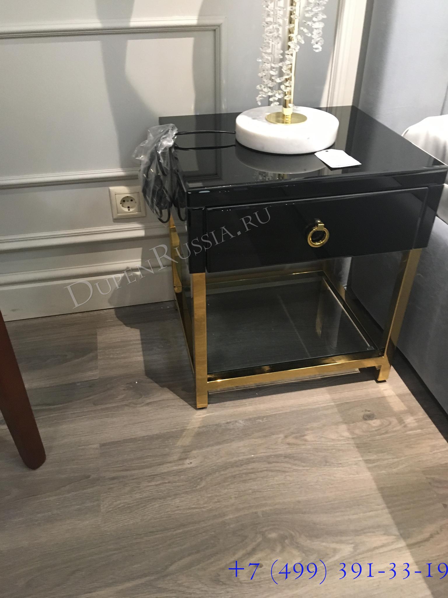Тумбочка с выдвижным ящиком и стеклянными панелями (KFC763) Garda Decor