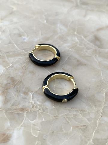 Серьги конго из позолоченного серебра с черной эмалью