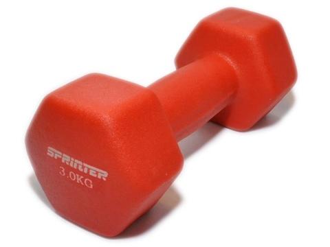 Гантель с неопреновым покрытием SPRINTER. Вес 3 кг: M-3KG  (Красный)