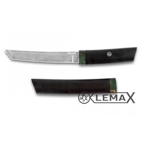 Нож Танто из булата, чёрный граб, стабилизированная карельская берёза
