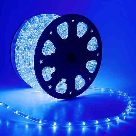 Дюралайт светодиодный, чейзинг, 11мм - 3 жилы - 24 led/m, Синий - 100м