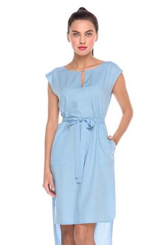 Фото голубое платье-рубашка с ассиметричным низом и карманами - Платье З202-575 (1)
