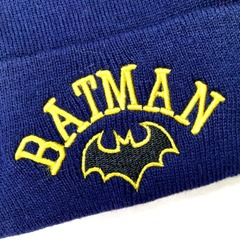 Вязаная шапка с вышивкой Бэтмен (Batman) синяя фото 2