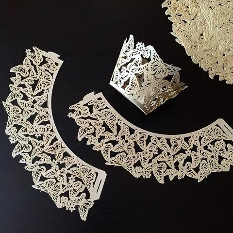 Юбочки бумажные для декорирования капкейков 10шт (210х50мм) БАБОЧКИ СЕРЫЕ