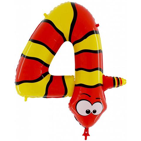 Воздушный шар (40''/102 см) Цифра, 4 Змея, 1 шт.