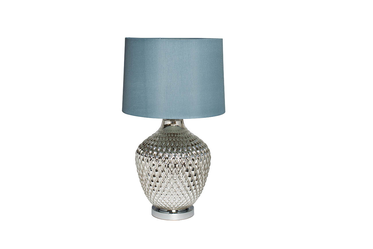 22-88017 Лампа настольная плафон синий d38*65см