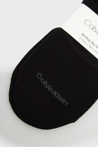Женские черные следы (2 пары) CK WOMEN NO SHOW COTTON LOGO JESSICA Calvin Klein