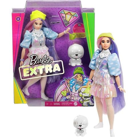 Барби Экстра 2 с Розовыми и Фиолетовыми Волосами с Щенком