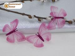 Бабочки шифоновые с малиновым тельцем розовые №7