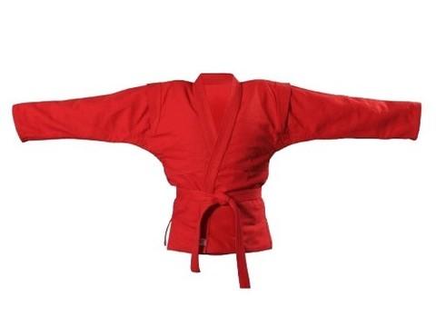 Куртка для самбо. Цвет красный. Размер 30. Состав: 100% хлопок, плотность 550гр./кв.м
