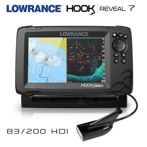 Эхолот-картплоттер HOOK REVEAL 7 83/200/455/800кГц HDI ROW  + СКИДКА на карты C-MAP!
