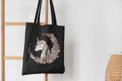 Сумка-шоппер с принтом Единорог (Unicorn) черная 008