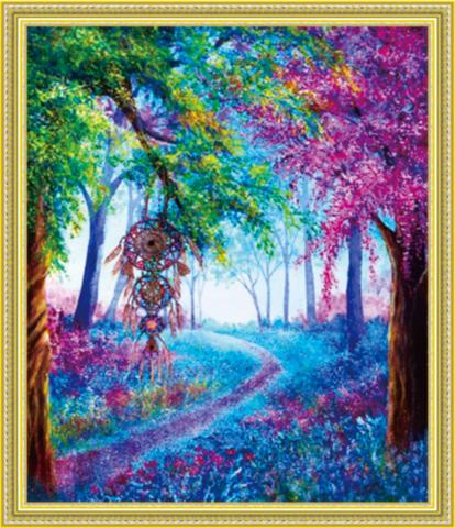 Алмазная Мозаика 40x50 Ловец снов в лесу