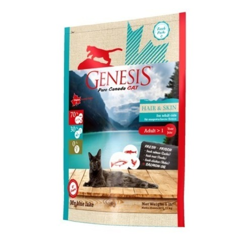 Genesis Pure Canada My Blue Lake Hair Skin для взрослых кошек, для улучшения кожи и шерсти с лососем, форелью и курицей 2,268 кг.