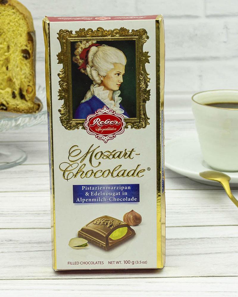 Молочный Шоколад Reber с Ореховым Пралине и Фисташковым Марципаном 100 гр.