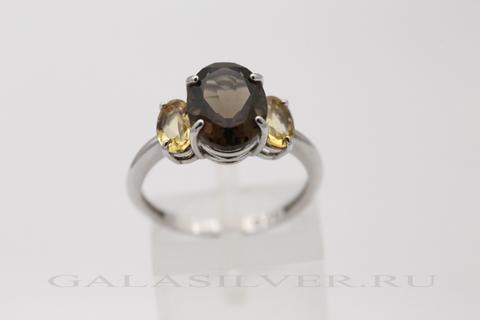 Кольцо с раухтопазом и цитрином из серебра 925