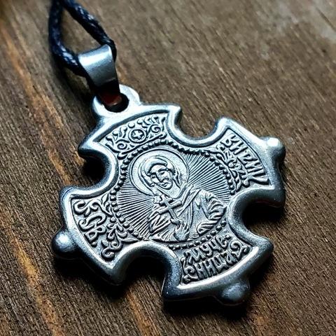 Нательная именная икона святая Лидия с Распятием посеребренная