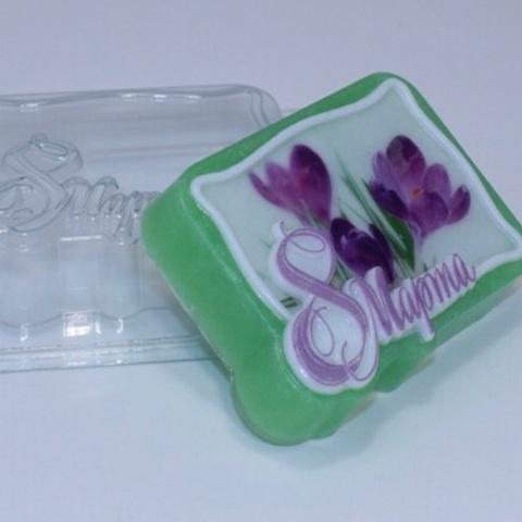 Пластиковая форма для шоколада жен. ПРЯМОУГОЛЬНИК 8 марта 90х70мм