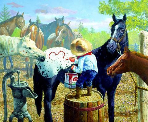 Алмазная Мозаика 20x30 Мальчик рисует на лошадях