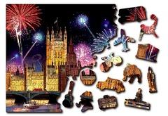 Ночной Лондон от Wooden City - Позитивные и яркие деревянные пазлы с деталями разных формы. Прекрасное фото салют над Лондоном, собирайте вместе с друзьями