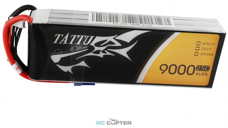 АКБ Gens Ace TATTU 9000mAh 22.2V 25C 6S1P Lipo Battery Pack EC5