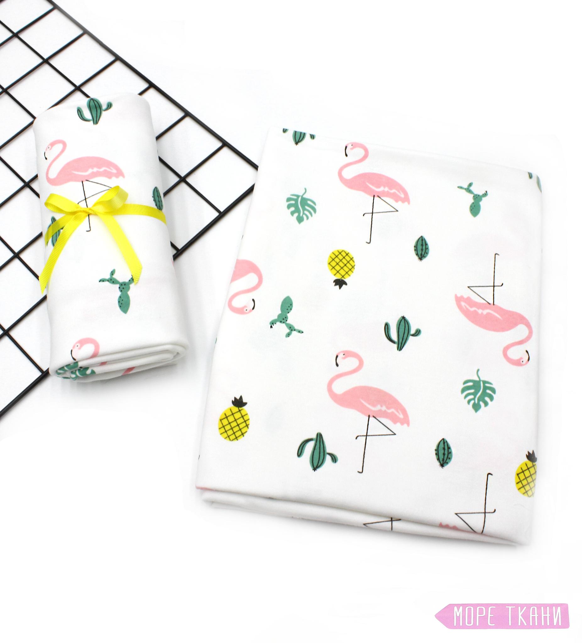 Трикотажная пеленка-фламинго(97х100)