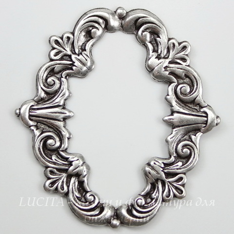 Винтажный декоративный элемент - рамка 40x36 мм (оксид серебра) ()