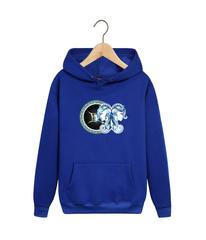 Толстовка синяя с капюшоном (худи, кенгуру) и принтом Знаки Зодиака, Близнецы (Гороскоп, horoscope) 001