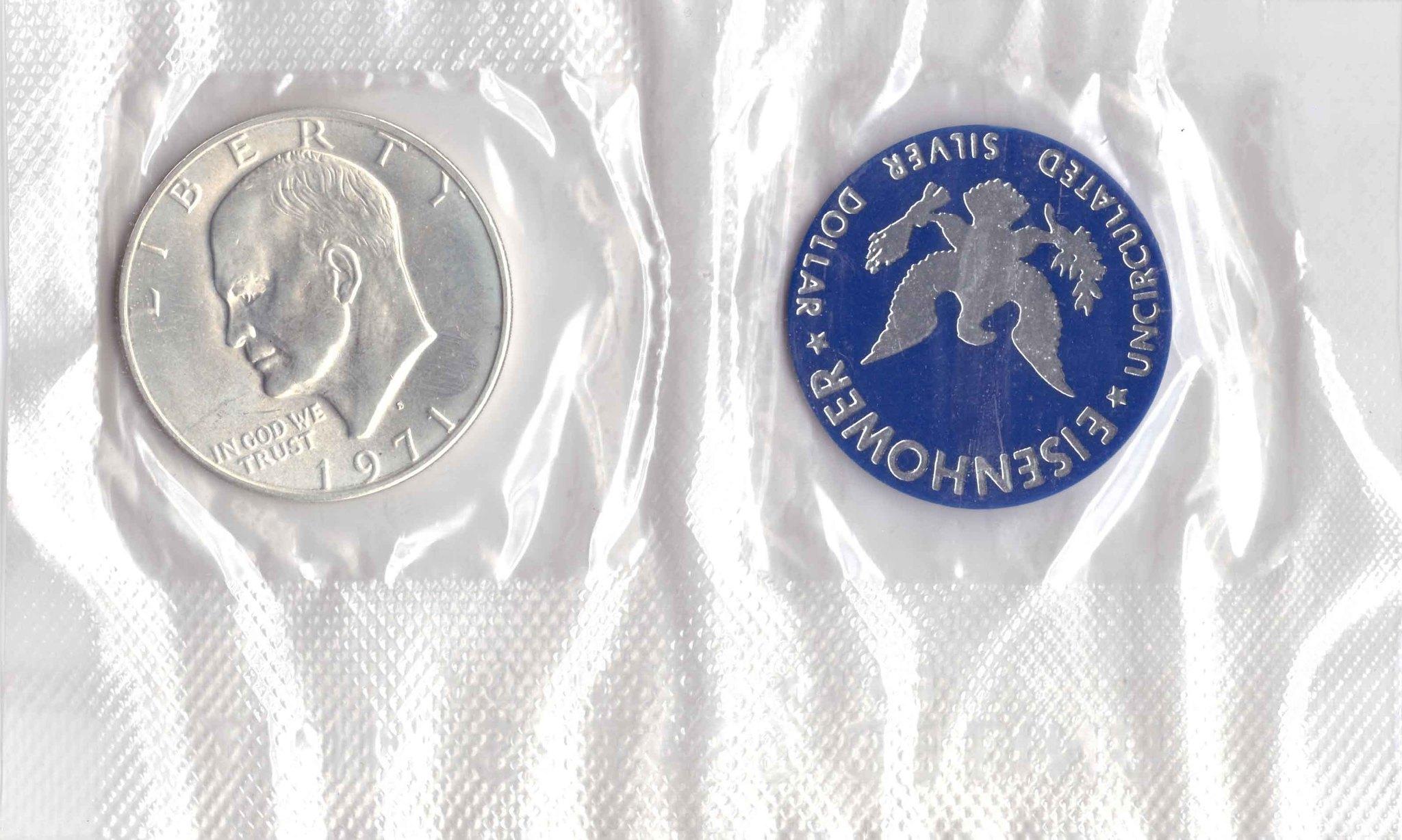 1 доллар 1971 (S) США Эйзенхауэр (лунный) с жетоном UNC (в родном конверте)
