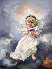Картина раскраска по номерам 30x40 Ангелок с фиолетовым букетом