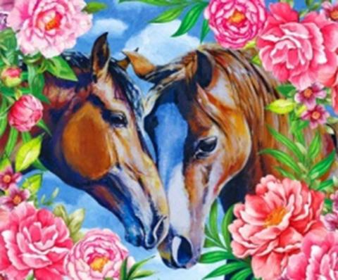 Картина раскраска по номерам 40x50 Лошади в цветах