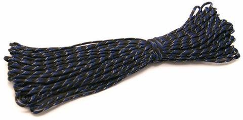 Шнур нейлоновый Паракорд PC200 длина 30 м, диаметр 4.0 мм (чёрно-синий)