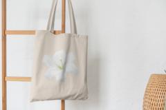 Сумка-шоппер с принтом Цветы (Лилии) бежевая 008