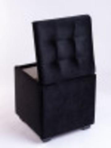 Пф-400-Я Пуфик квадратный (черный) с ящиком для хранения