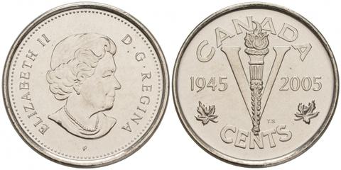 """5 центов """"60 лет победы во Второй Мировой войне"""" 2005"""