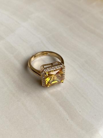 Кольцо Бонарт с желтым цирконом, серебряный цвет