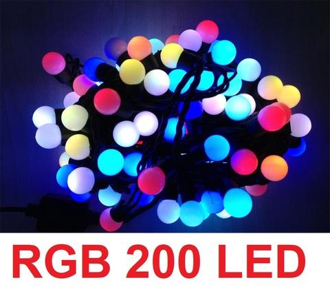 Гирлянда шарики RGB 200 LED Разноцветные мультик