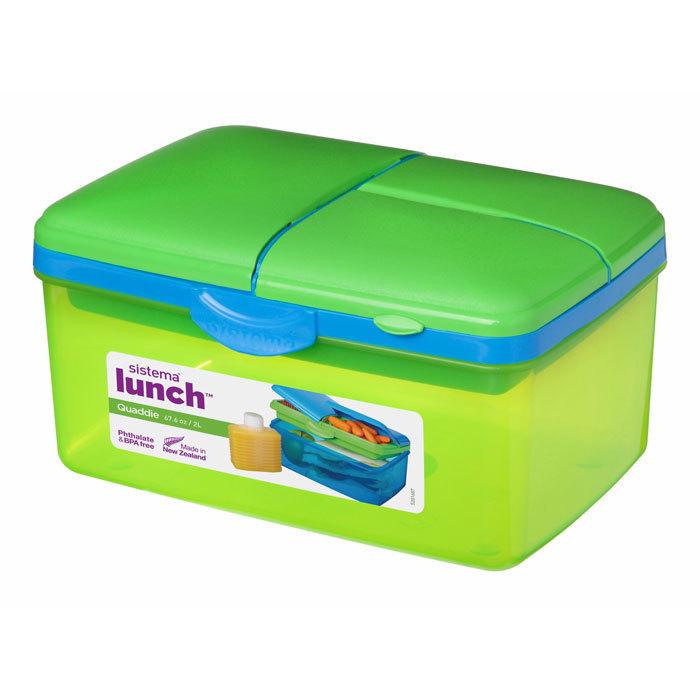 """Ланч-бокс с бутыkкой Sistema """"Lunch"""", 4 секции, 2 л, цвет Зеленый"""