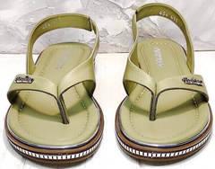 Женские кожаные шлепки вьетнамки Evromoda 454-411 Olive.