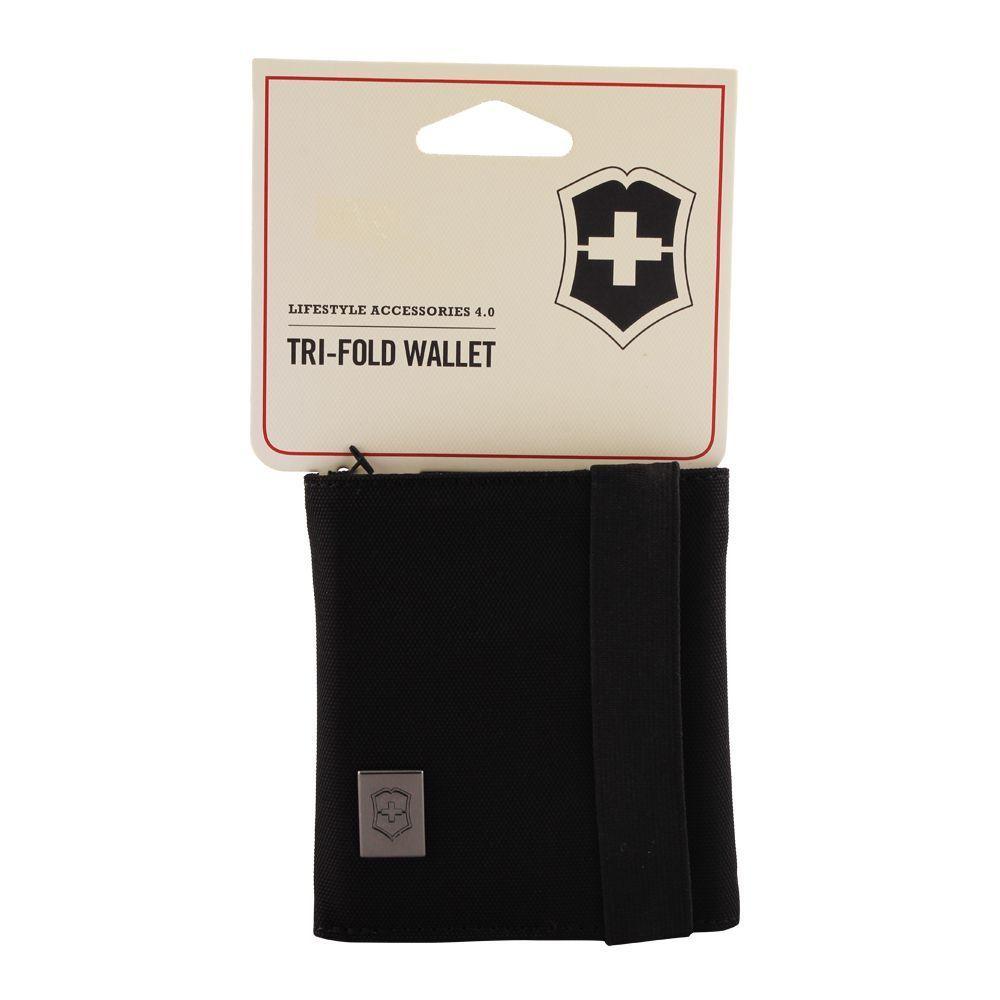 Бумажник Victorinox Lifestyle Accessories 4.0 Travel Tri-Fold Wallet, цвет чёрный, нейлон, 10x9x3 см. (31172401) | Wenger-Victorinox.Ru