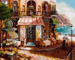 Картина раскраска по номерам 50x65 Кафе у берега