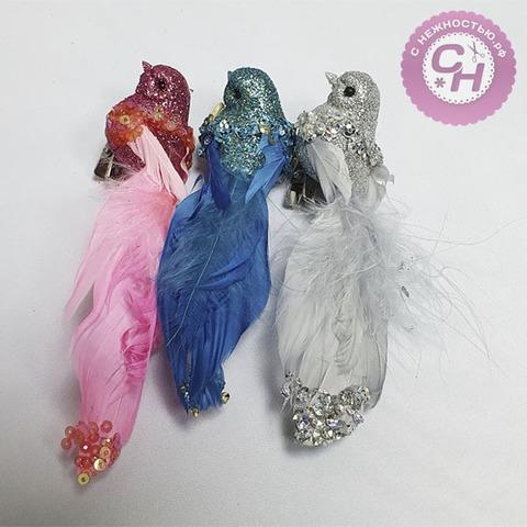 Птичка цветная с блестками и пайетками, на зажиме, 10 см, 1 шт.